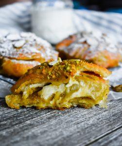 Pistachio Almond Croissants cut open