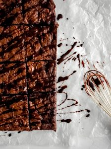 Trashy Boxed Brownies after chocolate drizzle