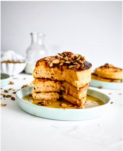 Japanese soufflé Pancakes cut open