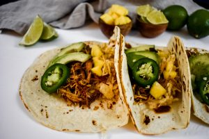 jerk chicken tacos in tortillas