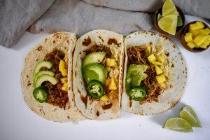 jerk chicken tacos lined up