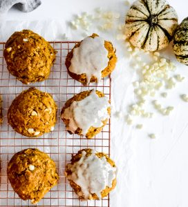 Pumpkin Scones with Cinnamon Glaze overhead