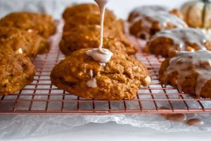 Pumpkin Scones with Cinnamon Glaze with drizzle