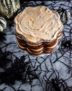 Carrot Cake with Pumpkin Spice Frosting on cake stand