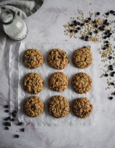 Chocolate Almond Oatmeal Cookies on wax paper
