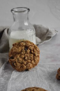 Chocolate Almond Oatmeal Cookies with milk