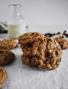 Chocolate Almond Oatmeal Cookies stacked