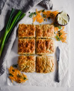 Cheddar & Chive Buttermilk Biscuits overhead