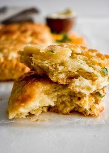 Cheddar & Chive Buttermilk Biscuits cut open