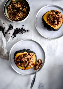 Stuffed Acorn Squash with currants