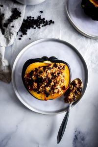 Stuffed Acorn Squash on a plate