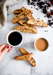 Biscotti with Currants, Apricots and Almonds with dark or light coffee