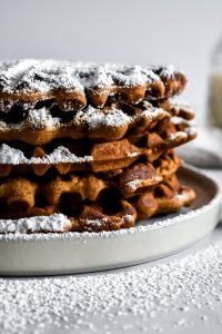 Gingerbread Waffles close up on a plate