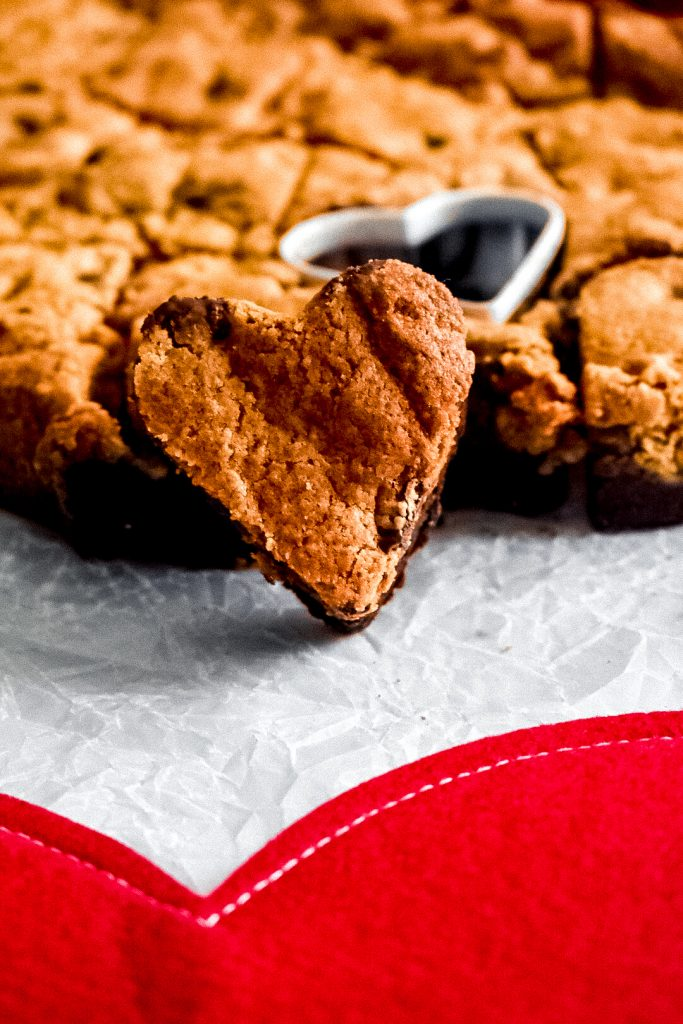 Valentine's Day Heart Brookie propped against more brookies