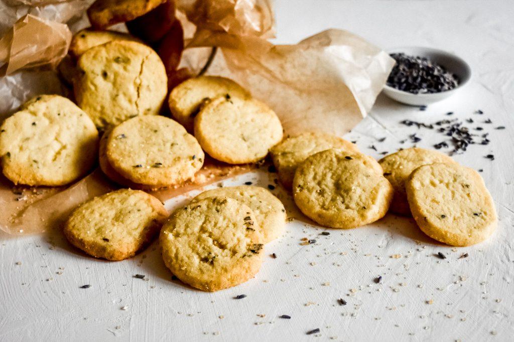 Lavender honey cookies on parchment