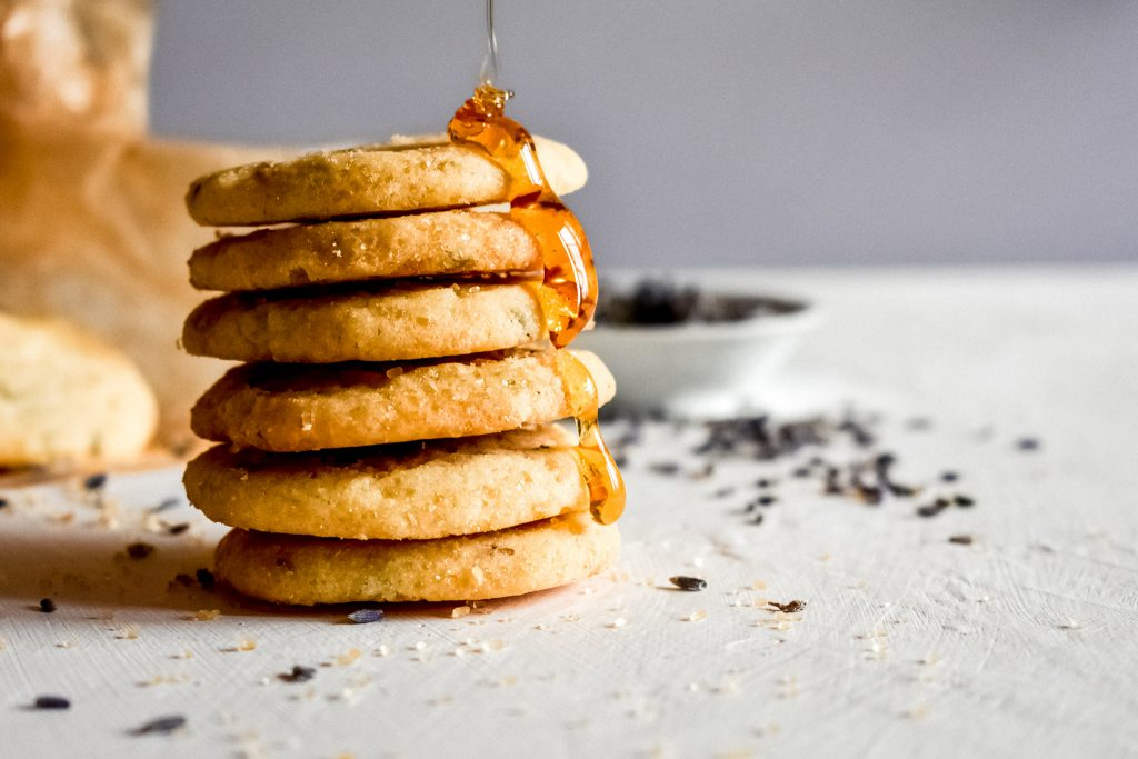 Lavender honey cookies with a honey drizzle