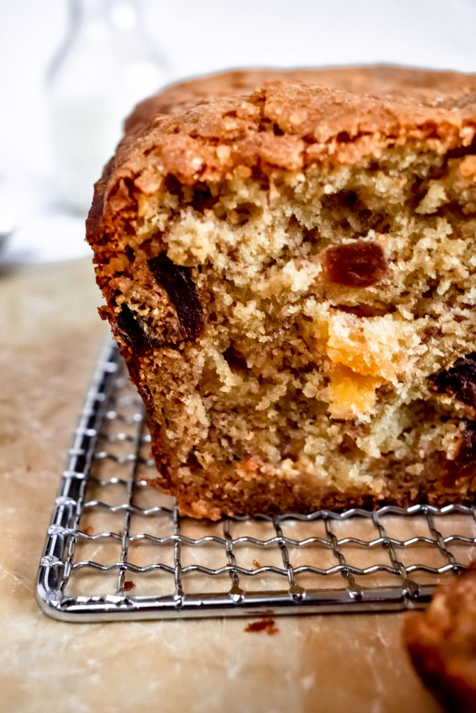 date and apricot banana bread close up on brown parchment