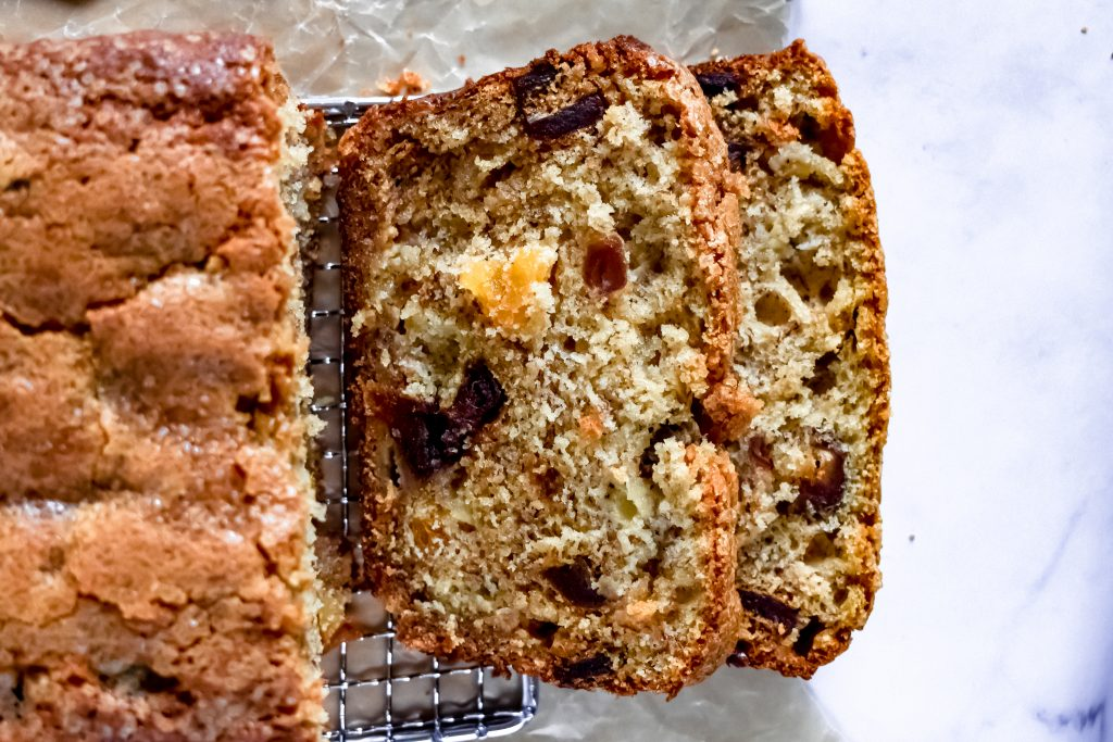 date and apricot banana bread sliced