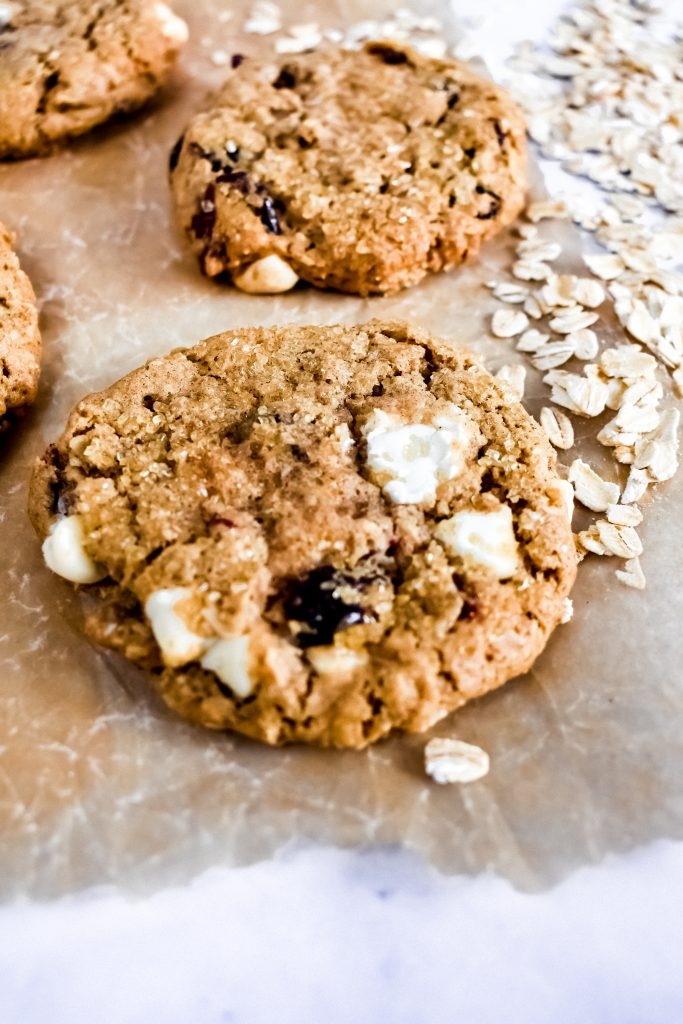 Easy Craisin Oatmeal Cookies on parchment