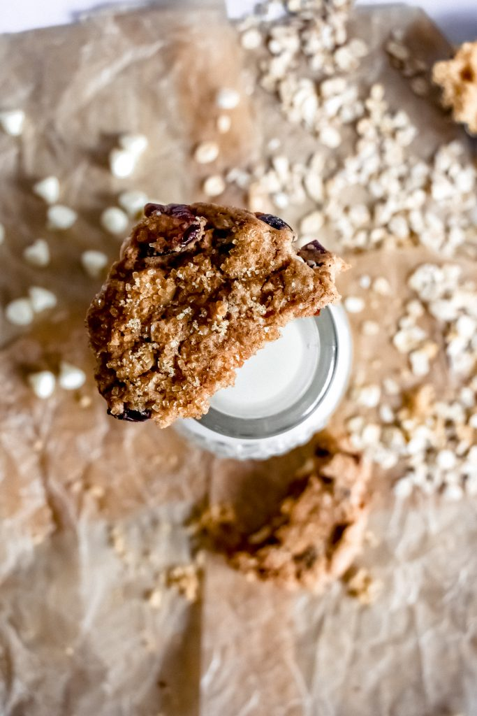 Easy Craisin Oatmeal Cookie on top of a milk jar