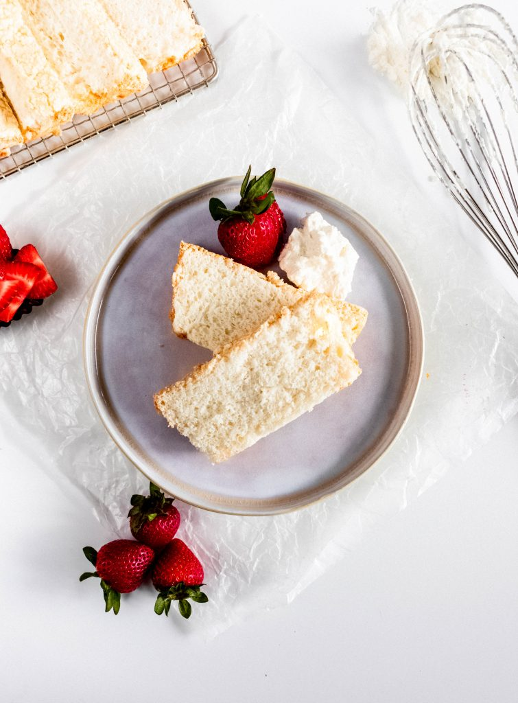 Easy Angel Food Cake -- in a loaf pan on a plate