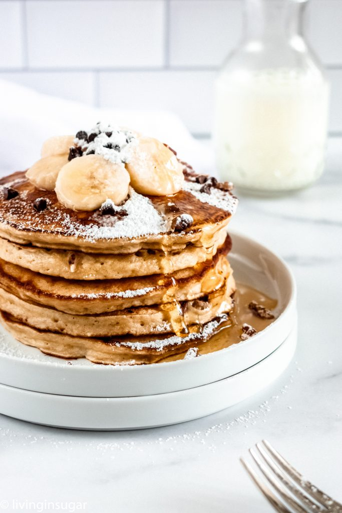 Banana Bread Pancakes stacked up