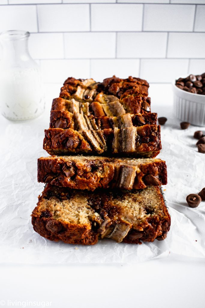 Chocolate Peanut Butter Banana Bread sliced