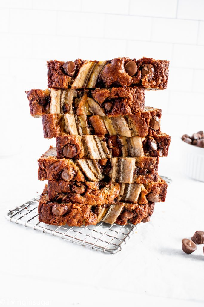 Chocolate Peanut Butter Banana Bread stacked up like jenga blocks