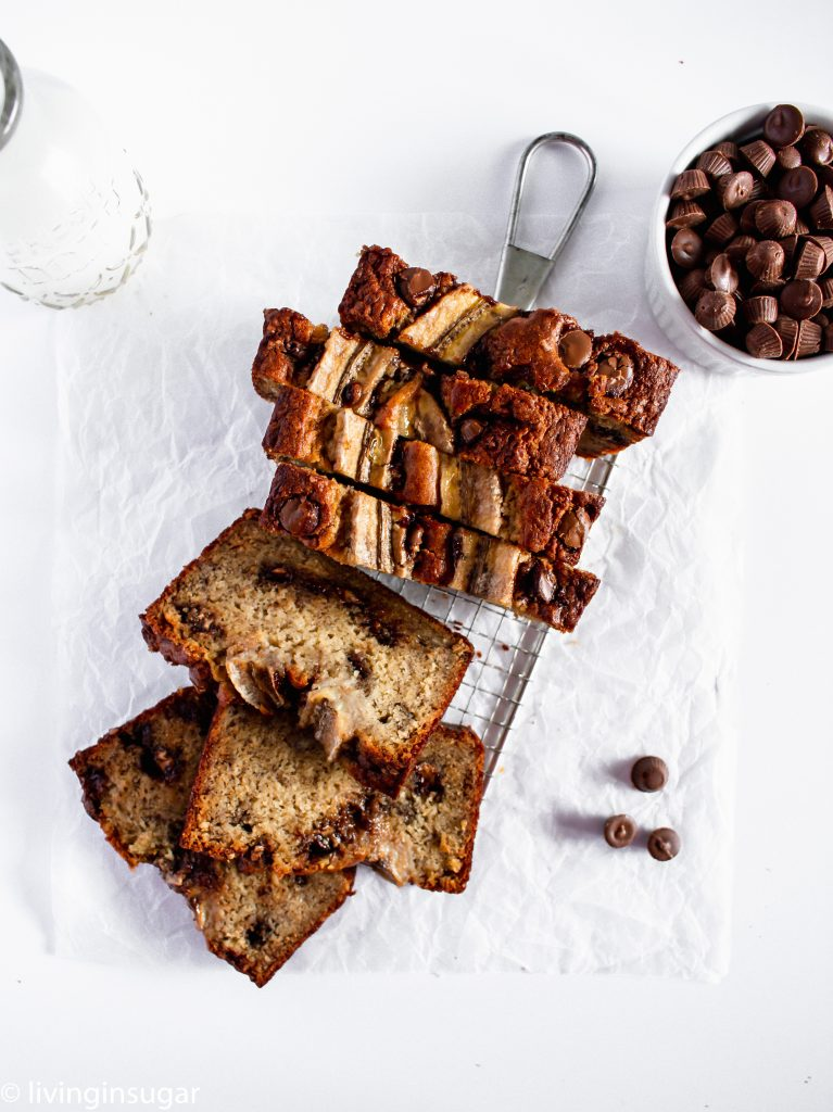 Chocolate Peanut Butter Banana Bread overhead, sliced with slices arranged.