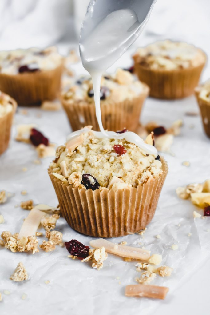 Easy Banana Muffins with Granola Crumble with glaze drizzle