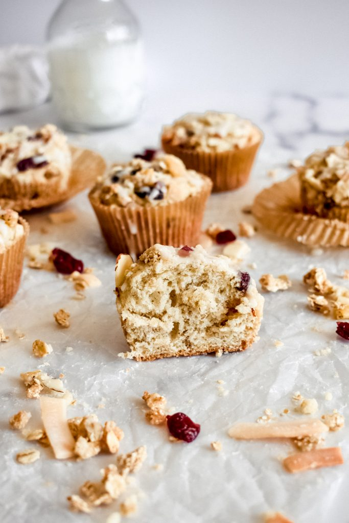 Easy Banana Muffins with Granola Crumble cut in half