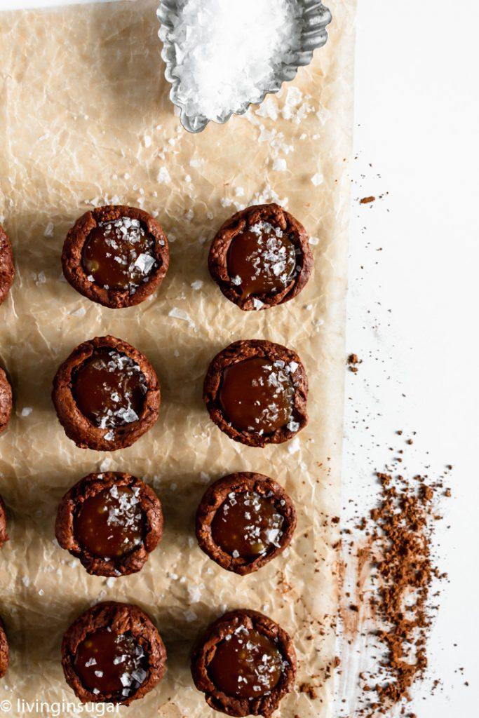 Salted Caramel Brownie Cups overhead