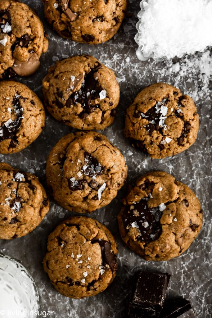 peanut butter chocolate chunk cookies overhead, with salt sprinkle