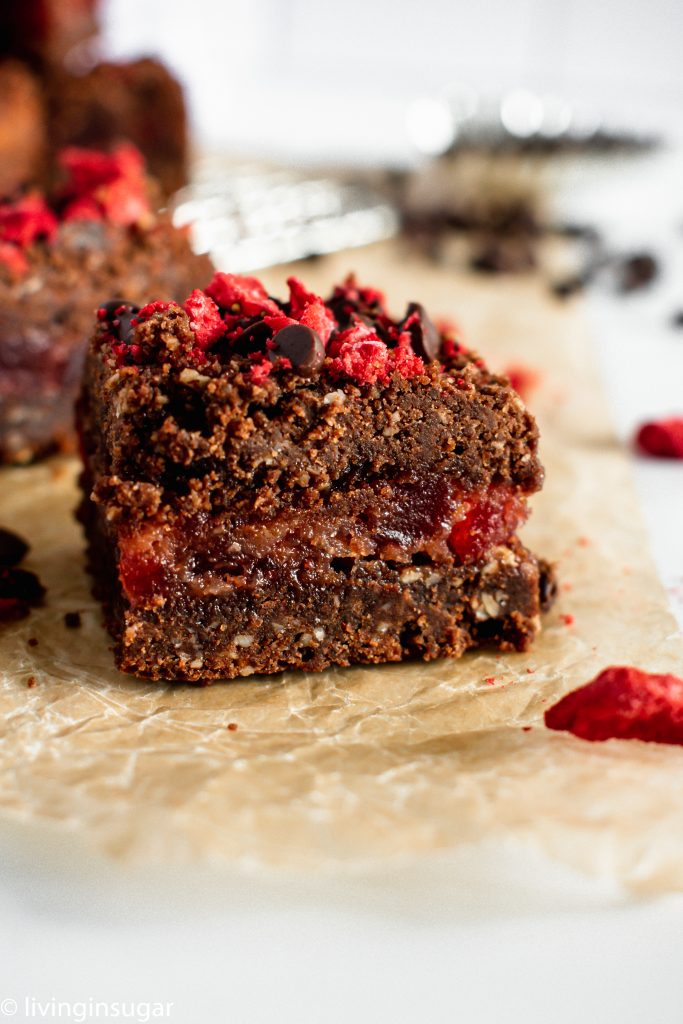 Chocolate Strawberry Crumble Bars close up of filling