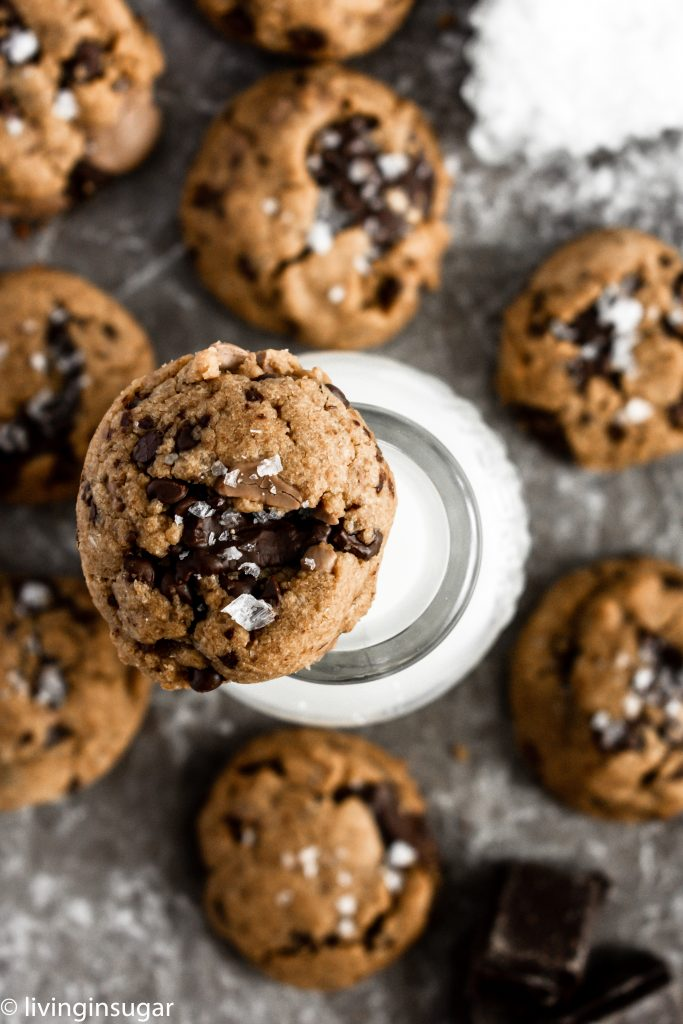 peanut butter chocolate chunk cookies with milk