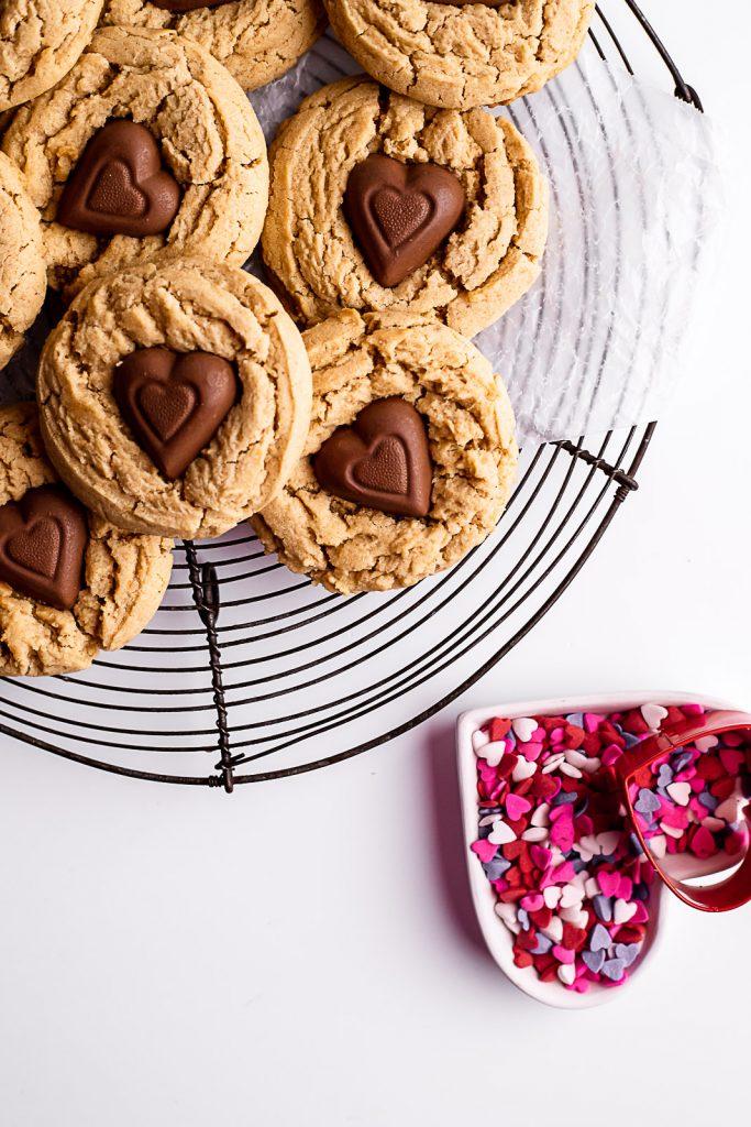 Peanut Butter Chocolate Heart Cookies