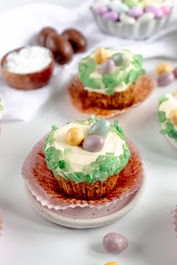 hummingbird cupcake with wrapper open