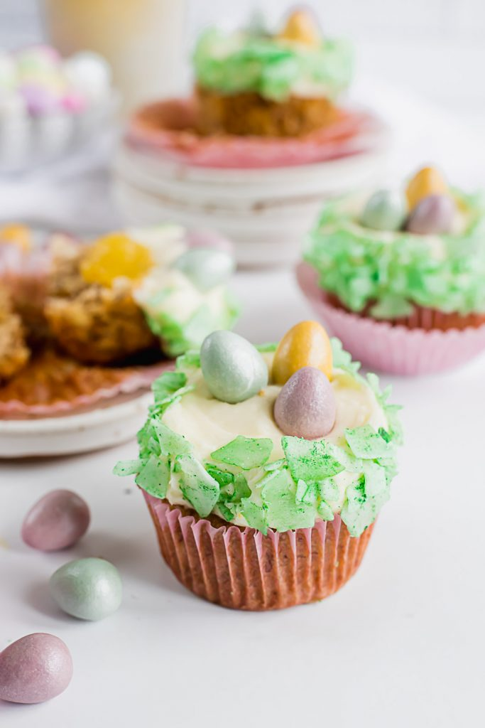 hummingbird cupcake dressed up for easter