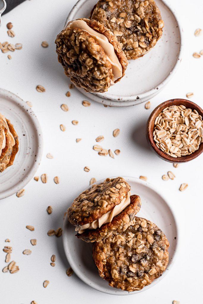 oatmeal sandwich cookies on a plate